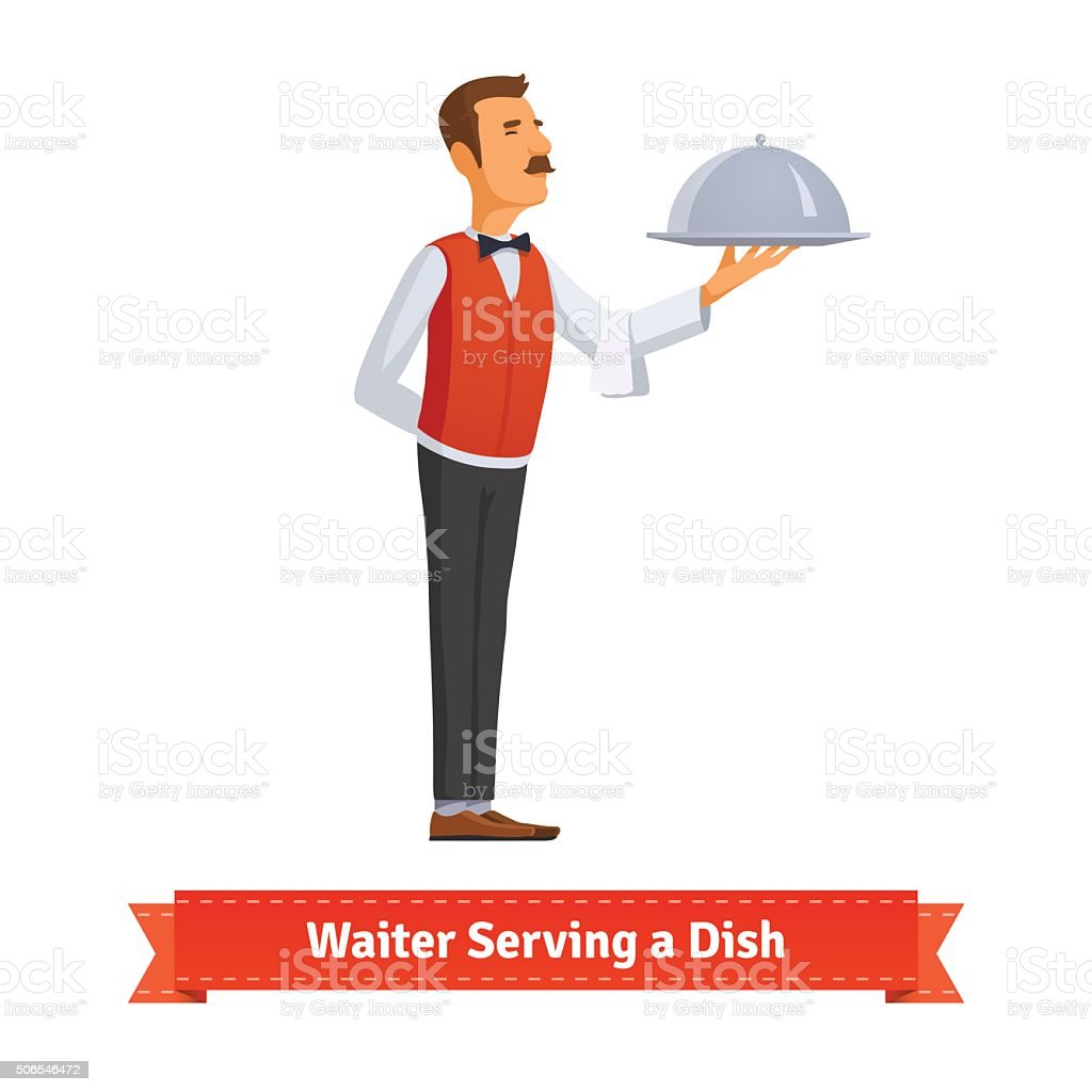 Waiter in a bow-tie serving dish on silver platter vector art illustration