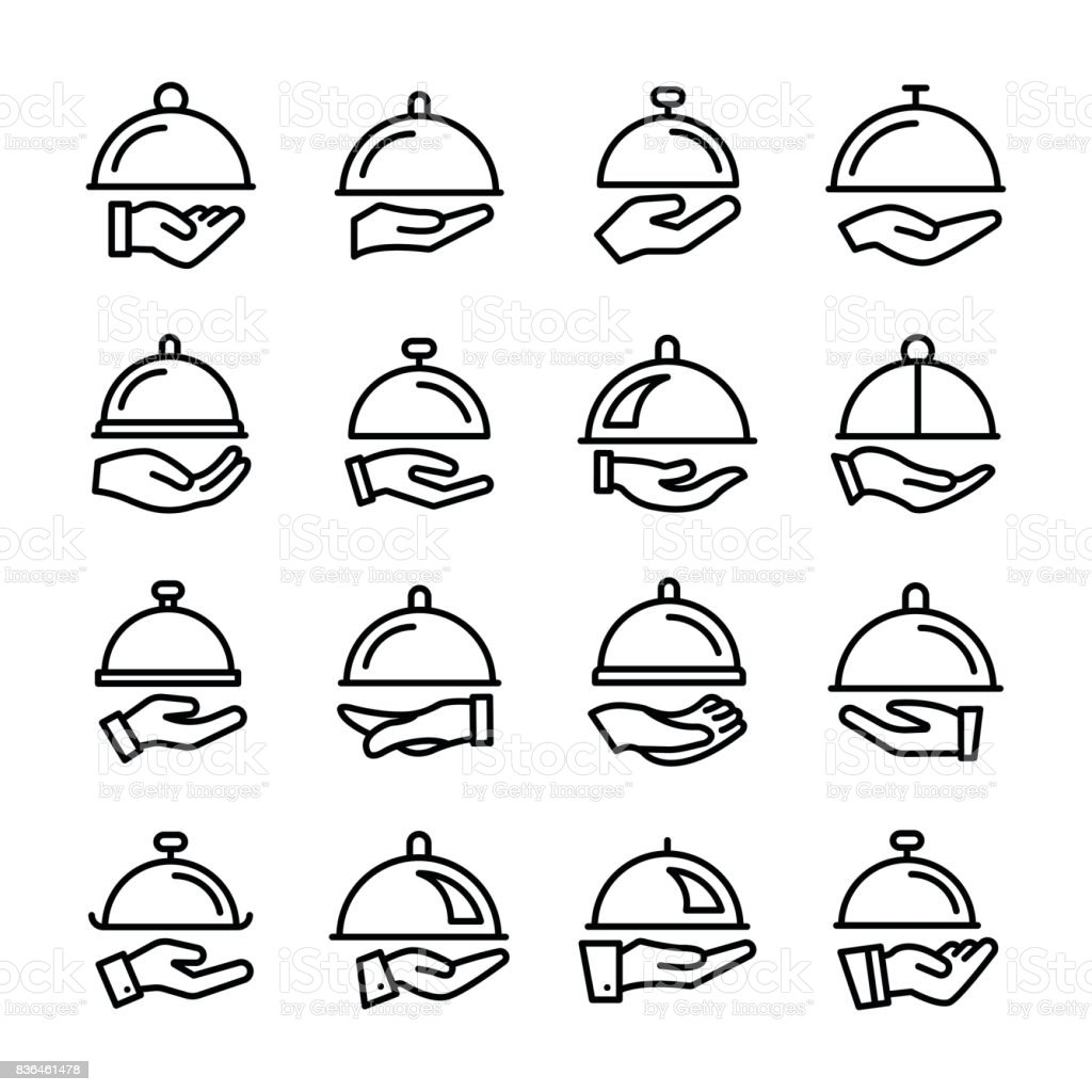 Waiter Line Vector Icons Set vector art illustration