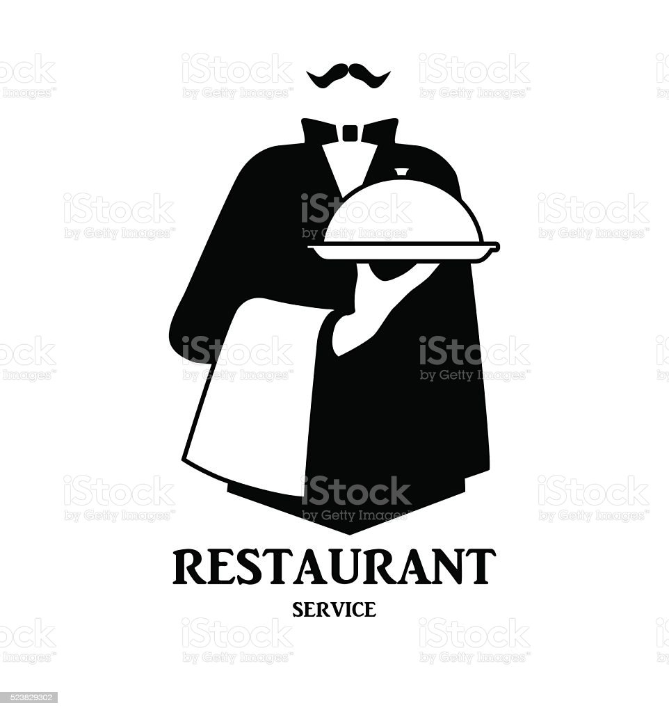 Waiter logo design vector art illustration