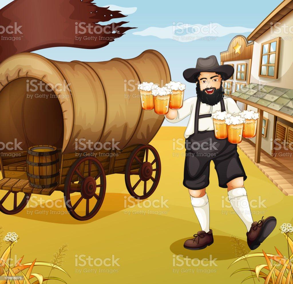 Waiter near the wagon royalty-free stock vector art