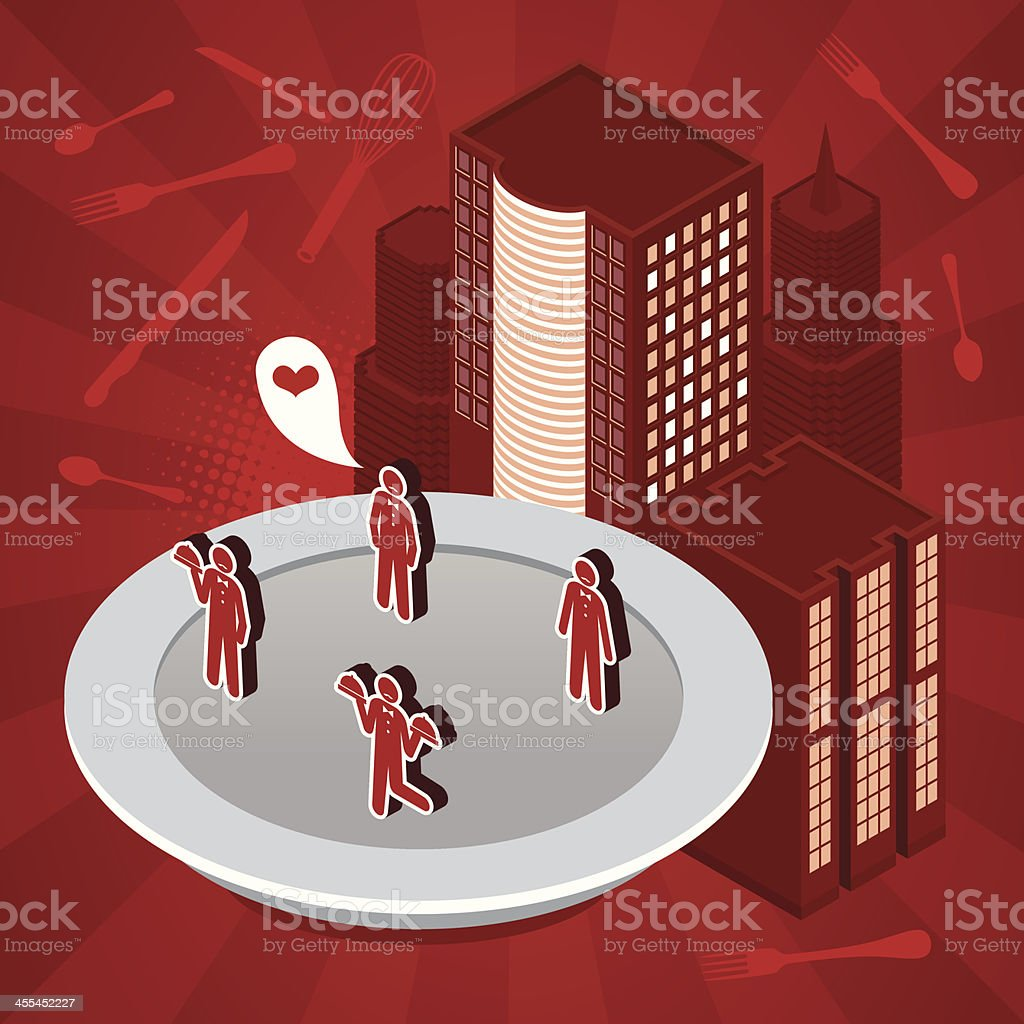 Waiter restaurant city royalty-free stock vector art