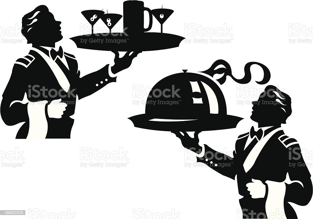 Waiter Serving Food and Drinks royalty-free stock vector art