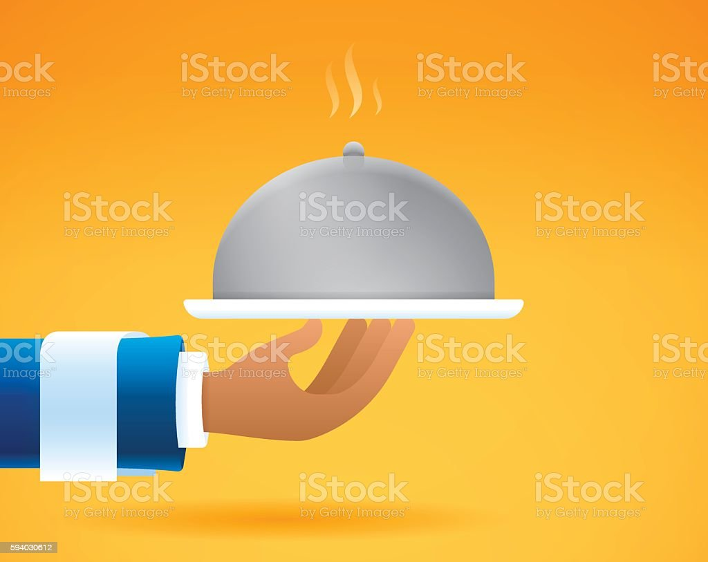 Waiter Serving Food vector art illustration