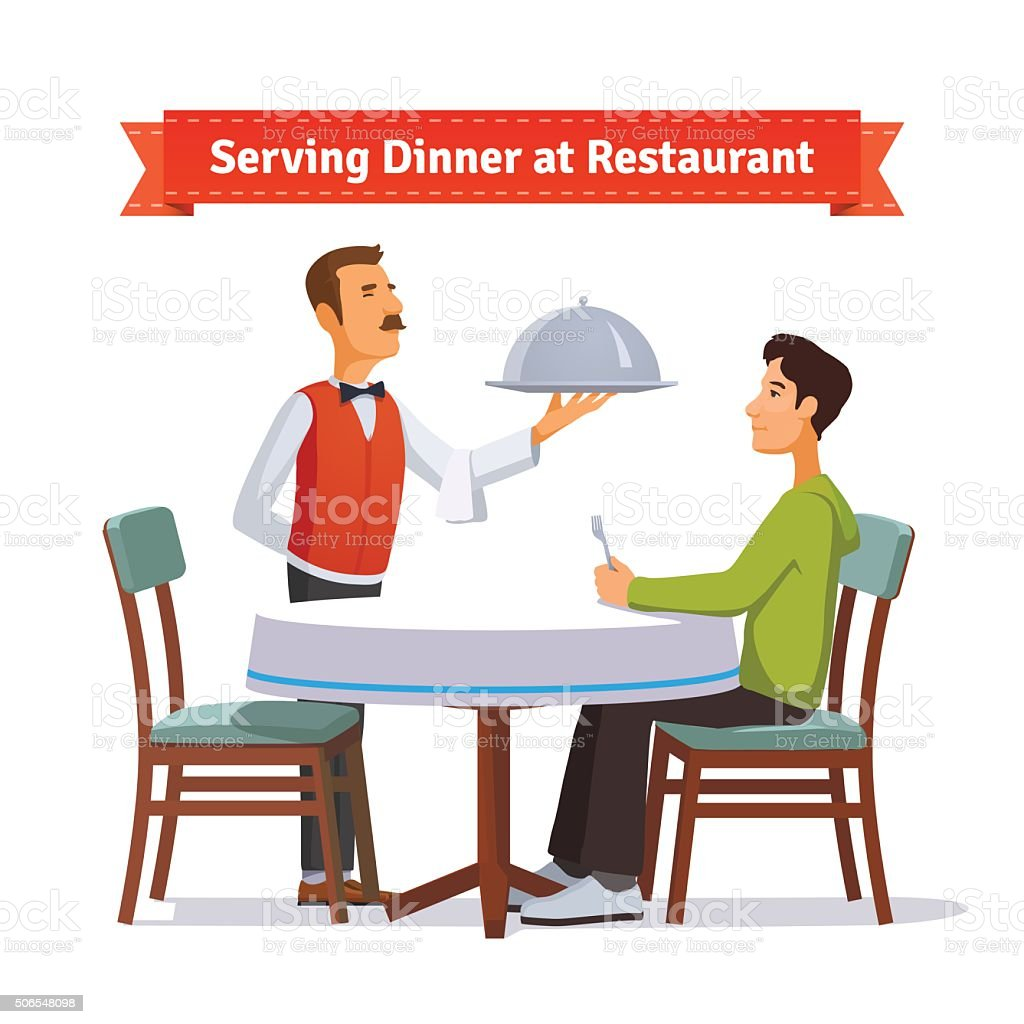 Waiter serving silver dish with lid to a customer vector art illustration