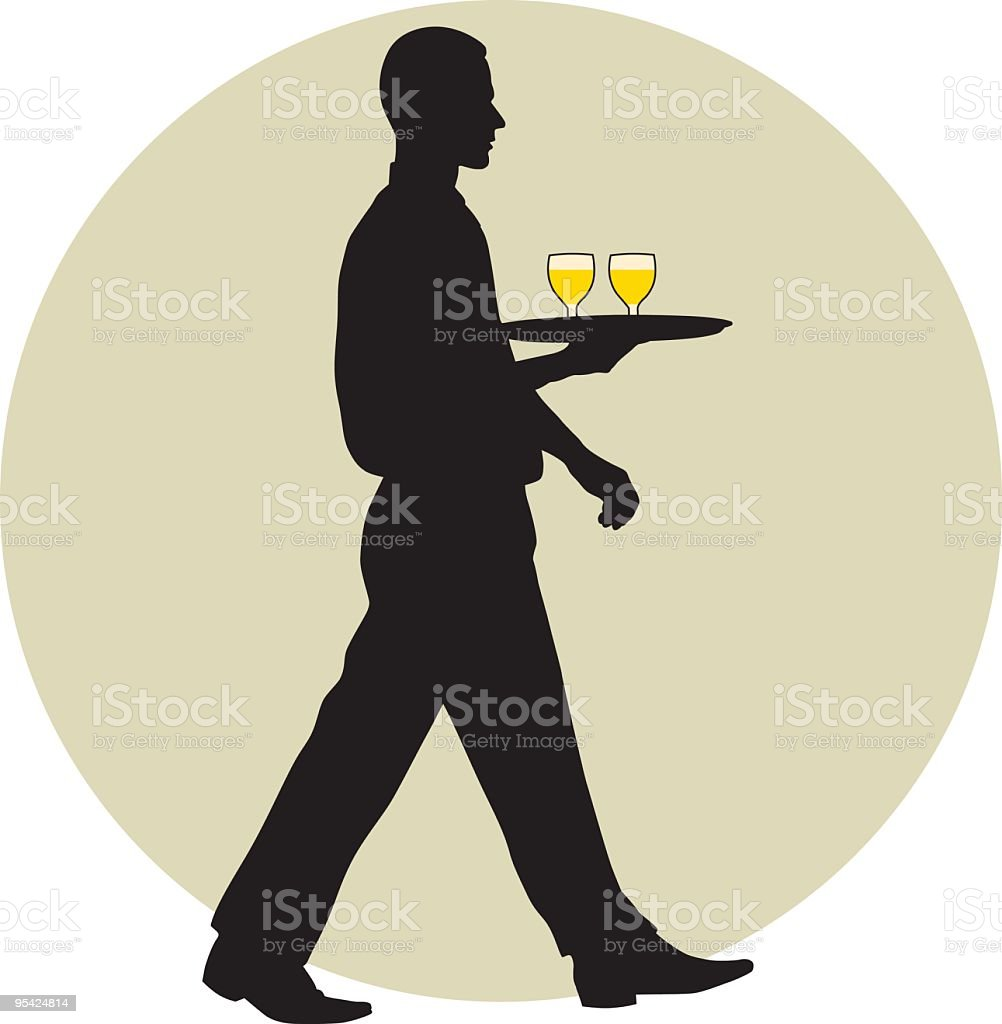 A waiter silhouette carrying two drinks royalty-free stock vector art