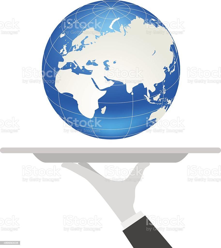 waiter tray earth vector art illustration
