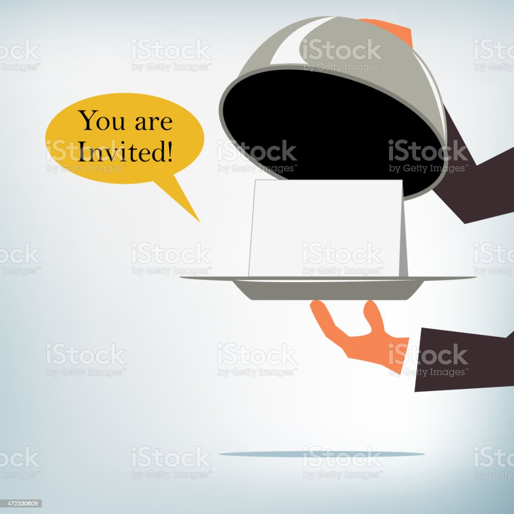 Waiter with a Serving Tray vector art illustration