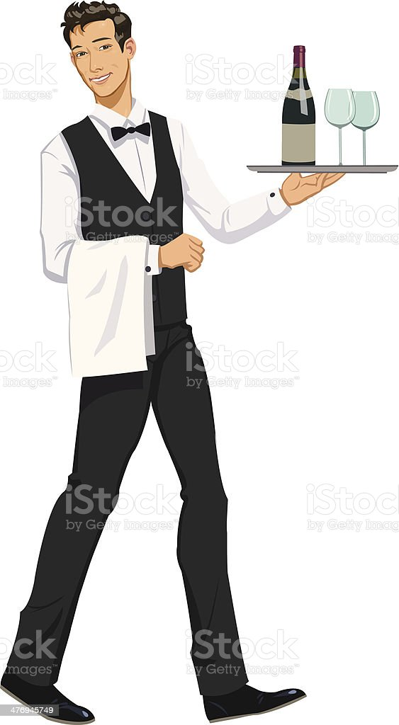 waiter with a tray royalty-free stock vector art