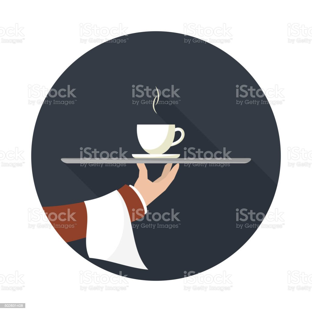 Waiter with cup of coffee, vector icon. vector art illustration