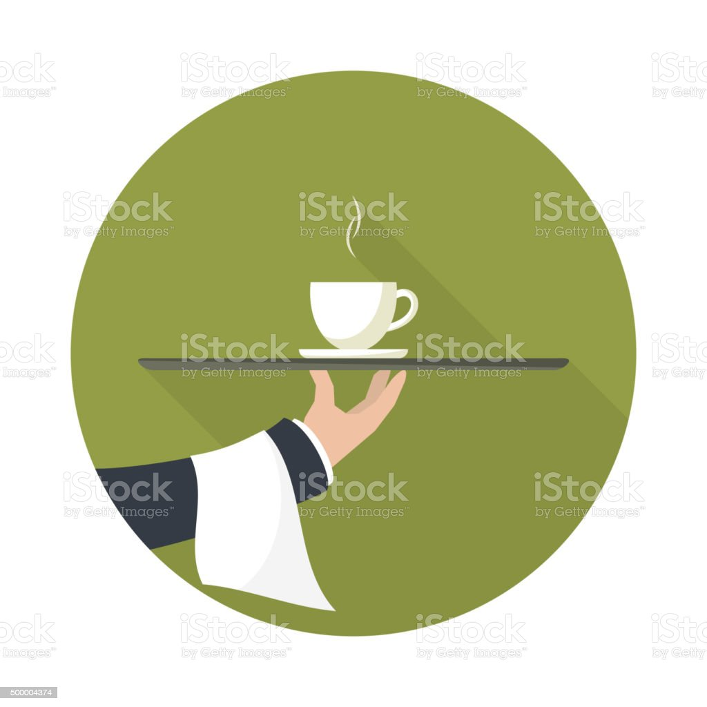 Waiter with cup of green tea, vector icon. vector art illustration