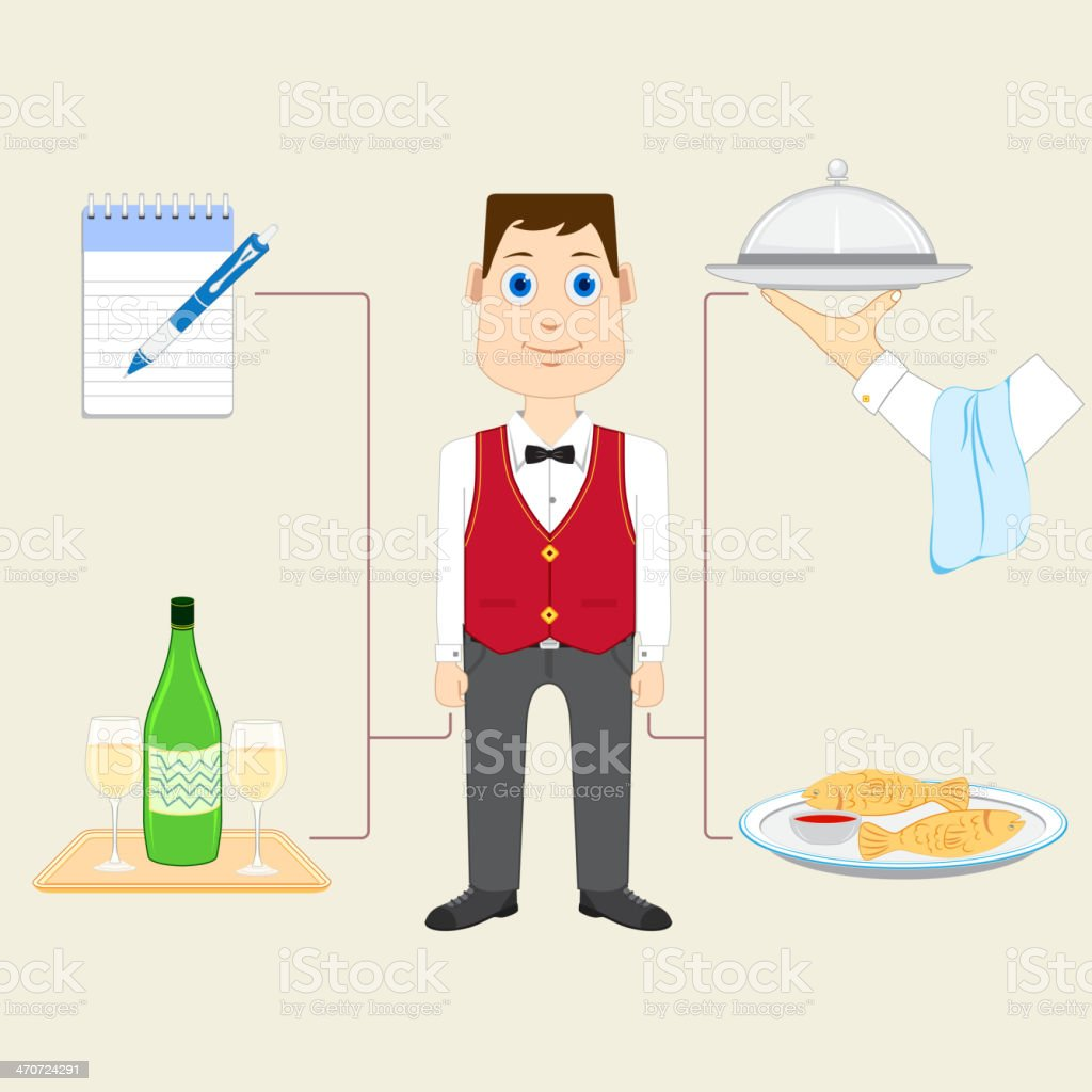 Waiter with Food and Drink royalty-free stock vector art