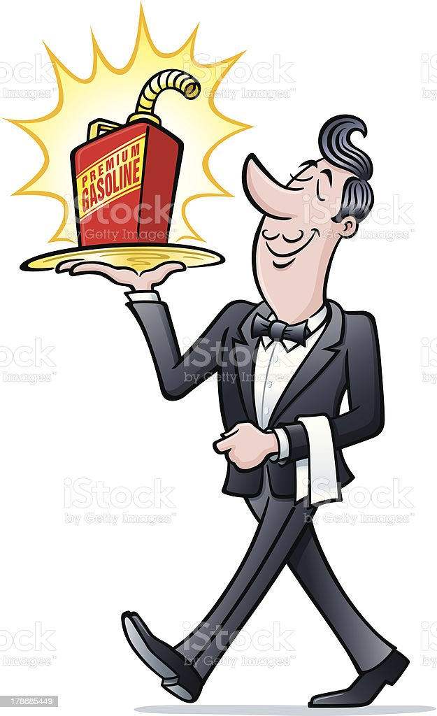 Waiter with Gas Can royalty-free stock vector art