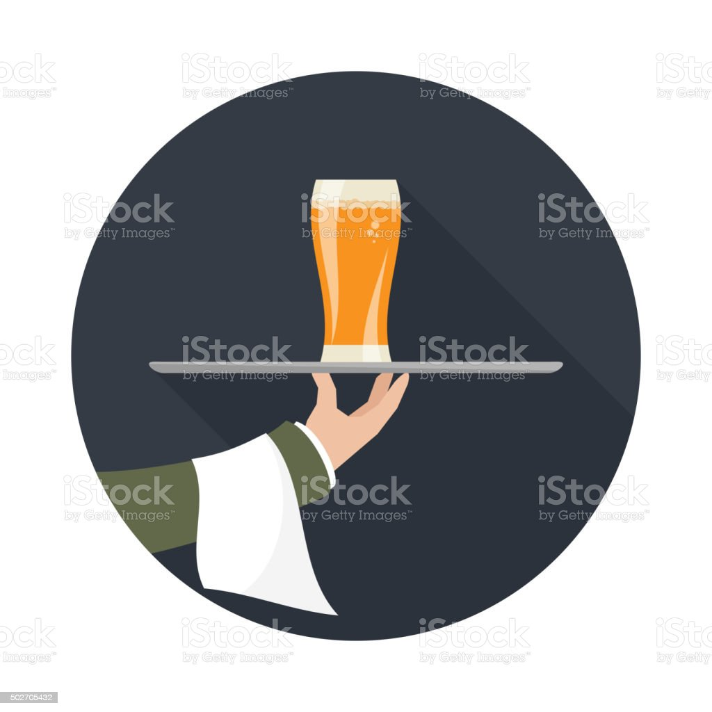 Waiter with glass of beer vector art illustration