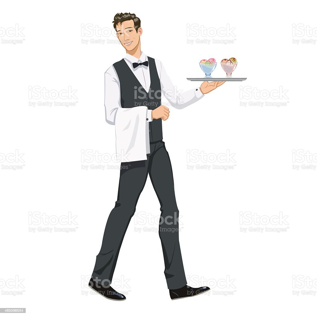 waiter with ice cream royalty-free stock vector art