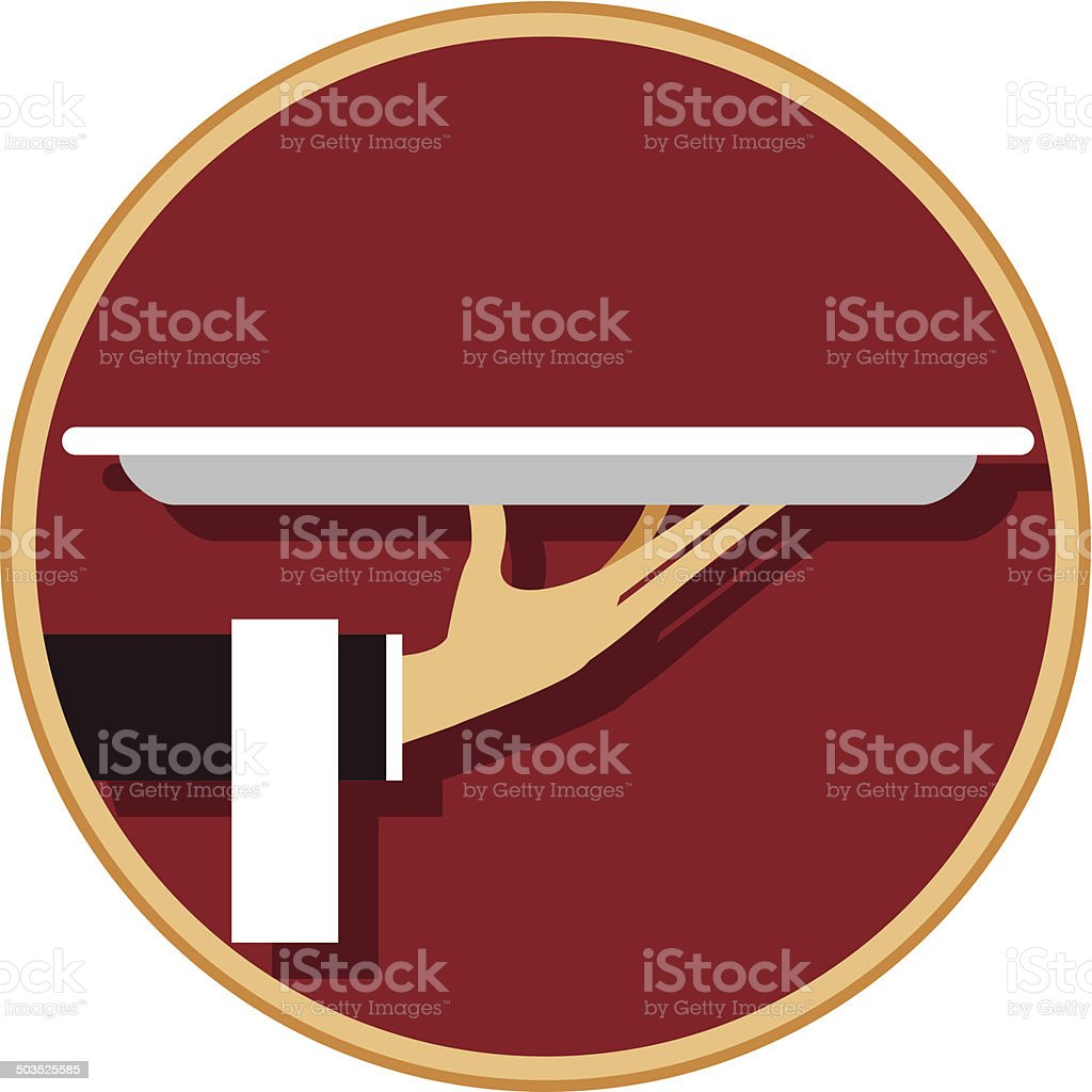 Waiter with platter vector art illustration