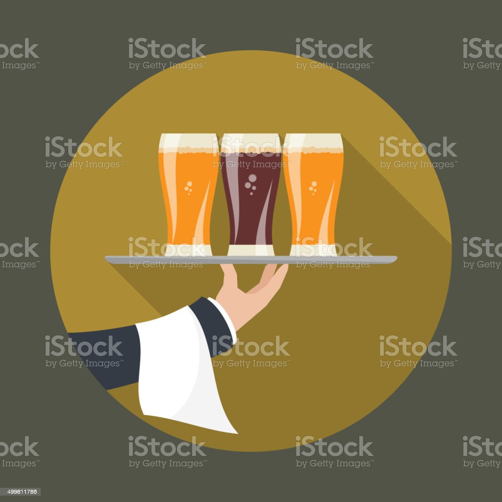 Waiter with three glasses of beer vector art illustration