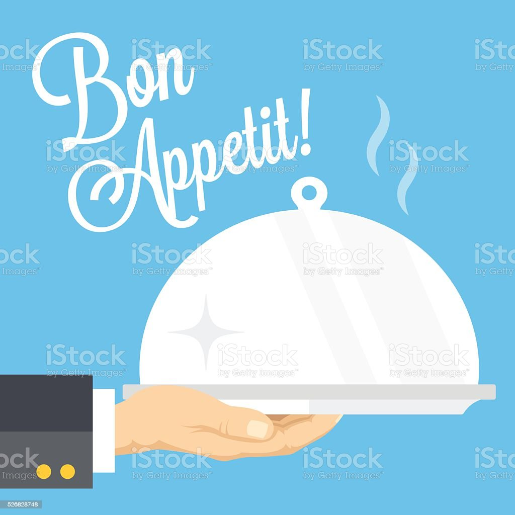 Waiter's hand with cloche and serving tray. Flat vector illustration vector art illustration