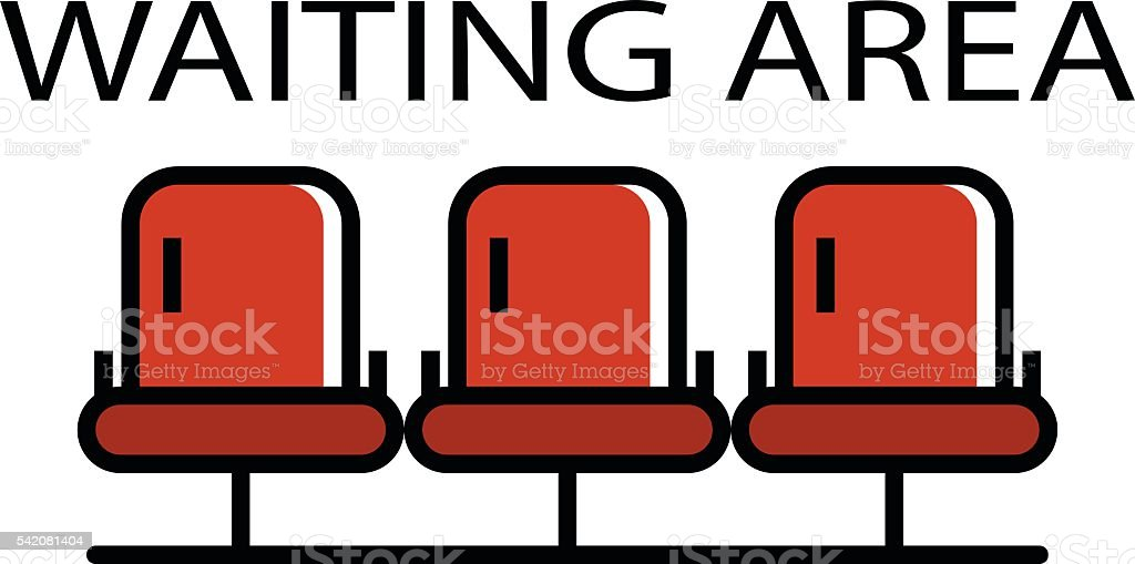 Waiting area line icon vector art illustration