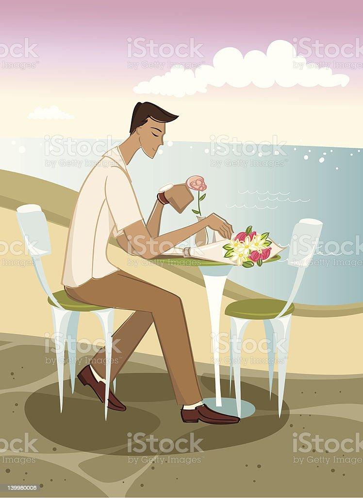 Waiting by the Beach vector art illustration
