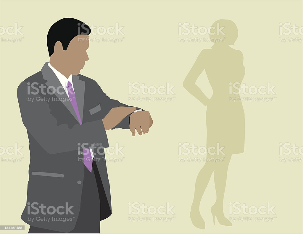 Waiting For The Right Woman vector art illustration