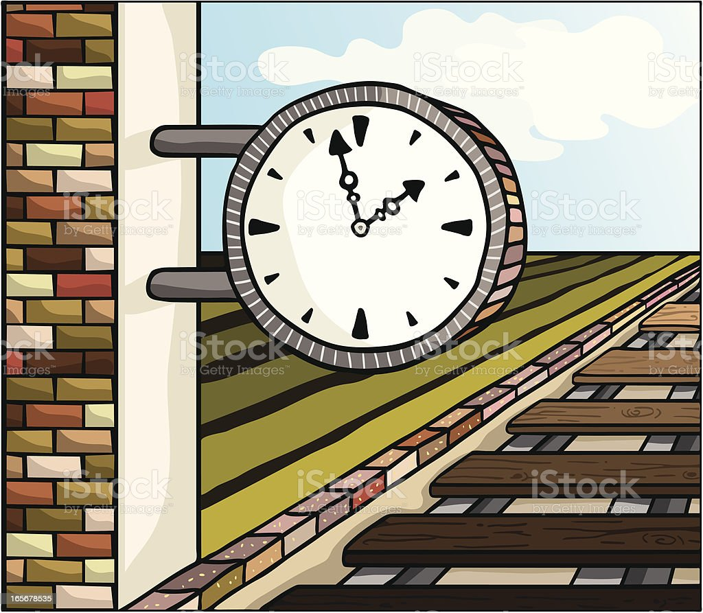 waiting for the train vector art illustration