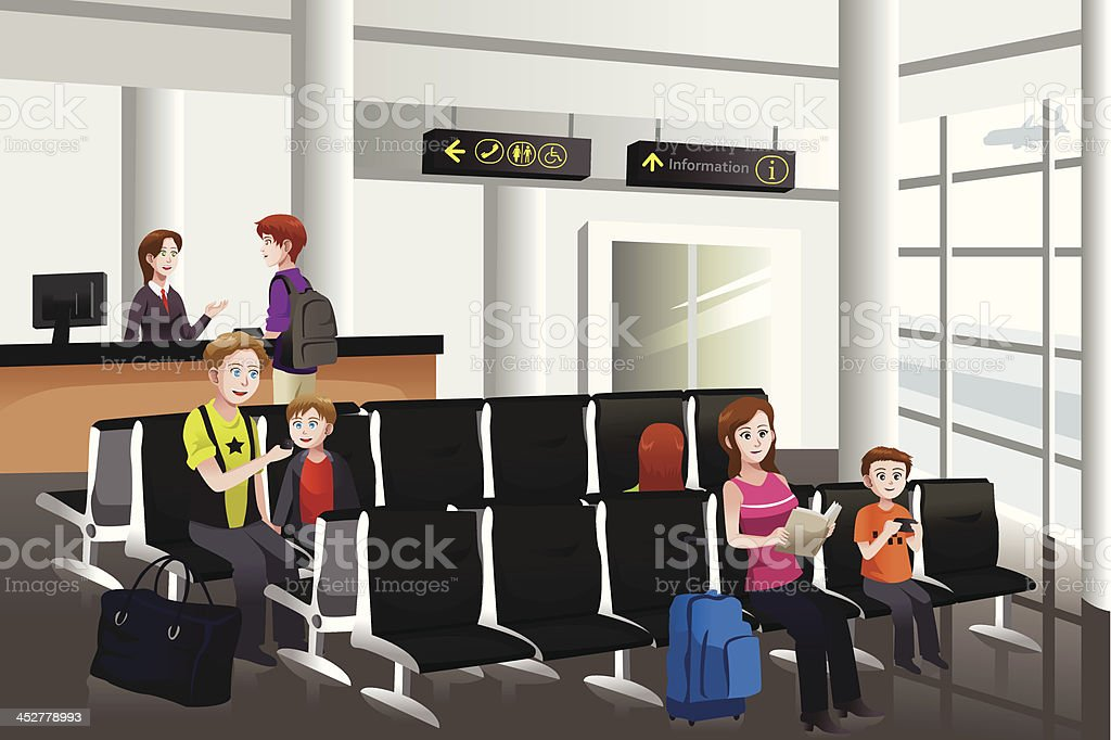 Waiting in the airport vector art illustration