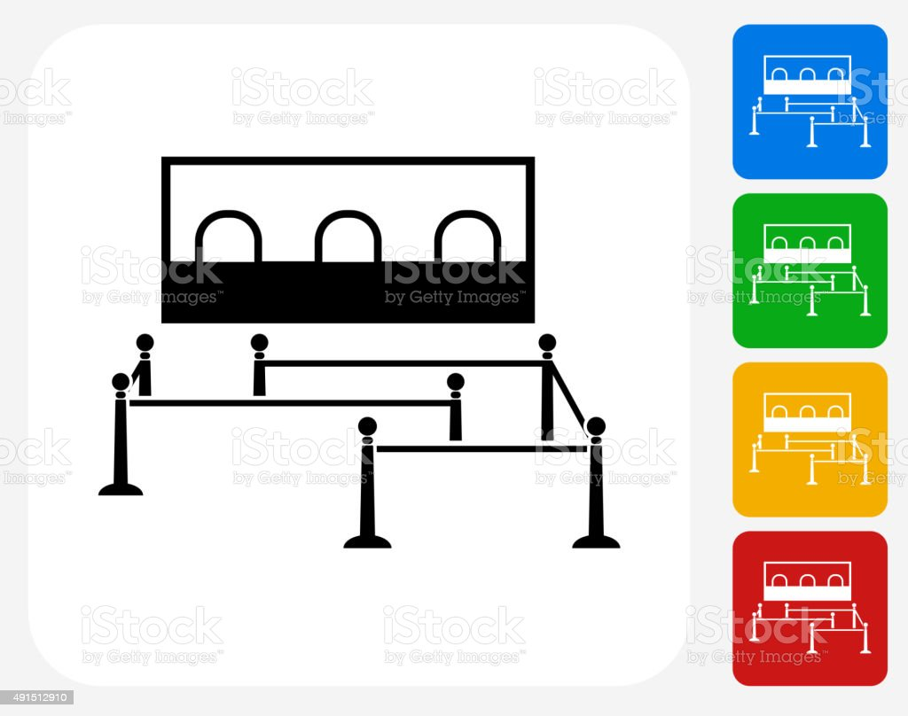 Waiting Line Icon Flat Graphic Design vector art illustration