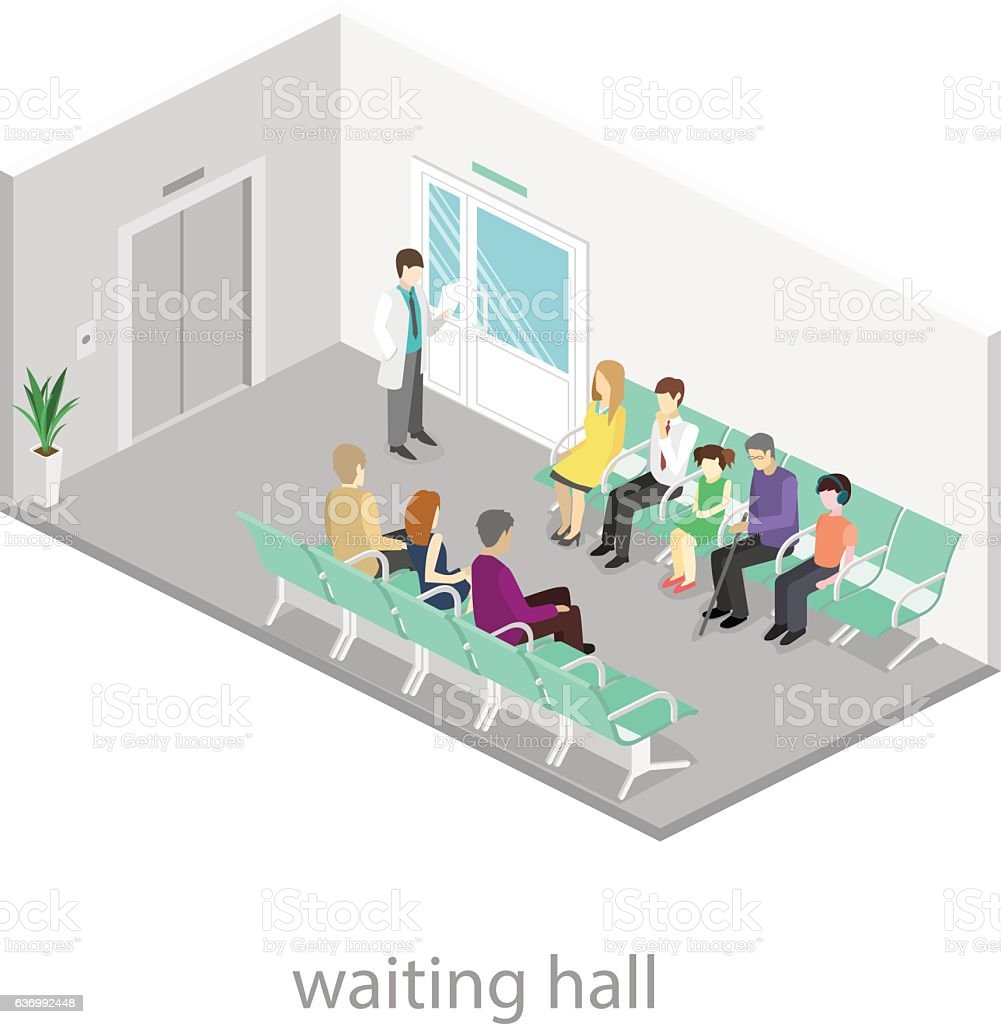 waiting room at the hospital. vector art illustration