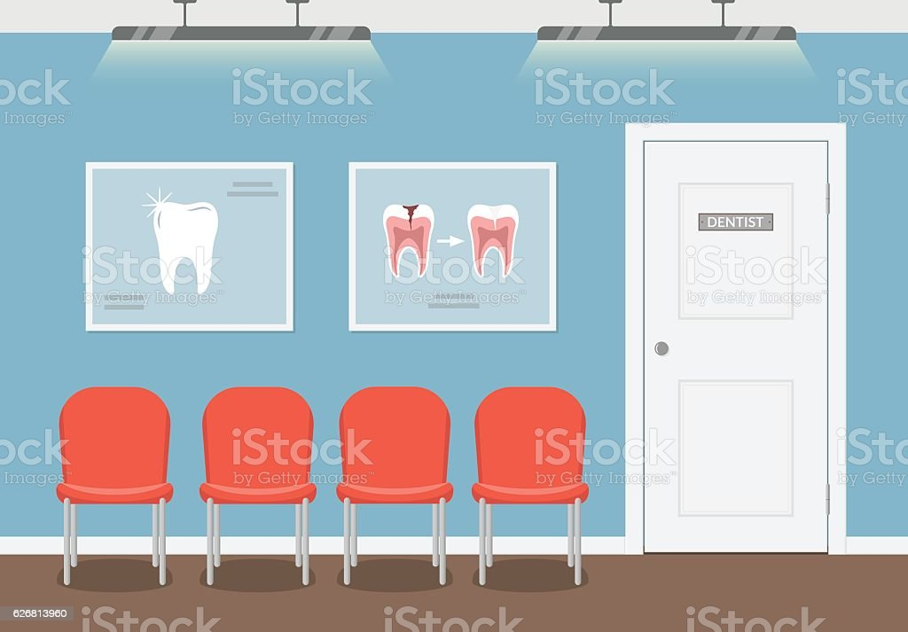 Waiting room for patients in the dental office. vector art illustration