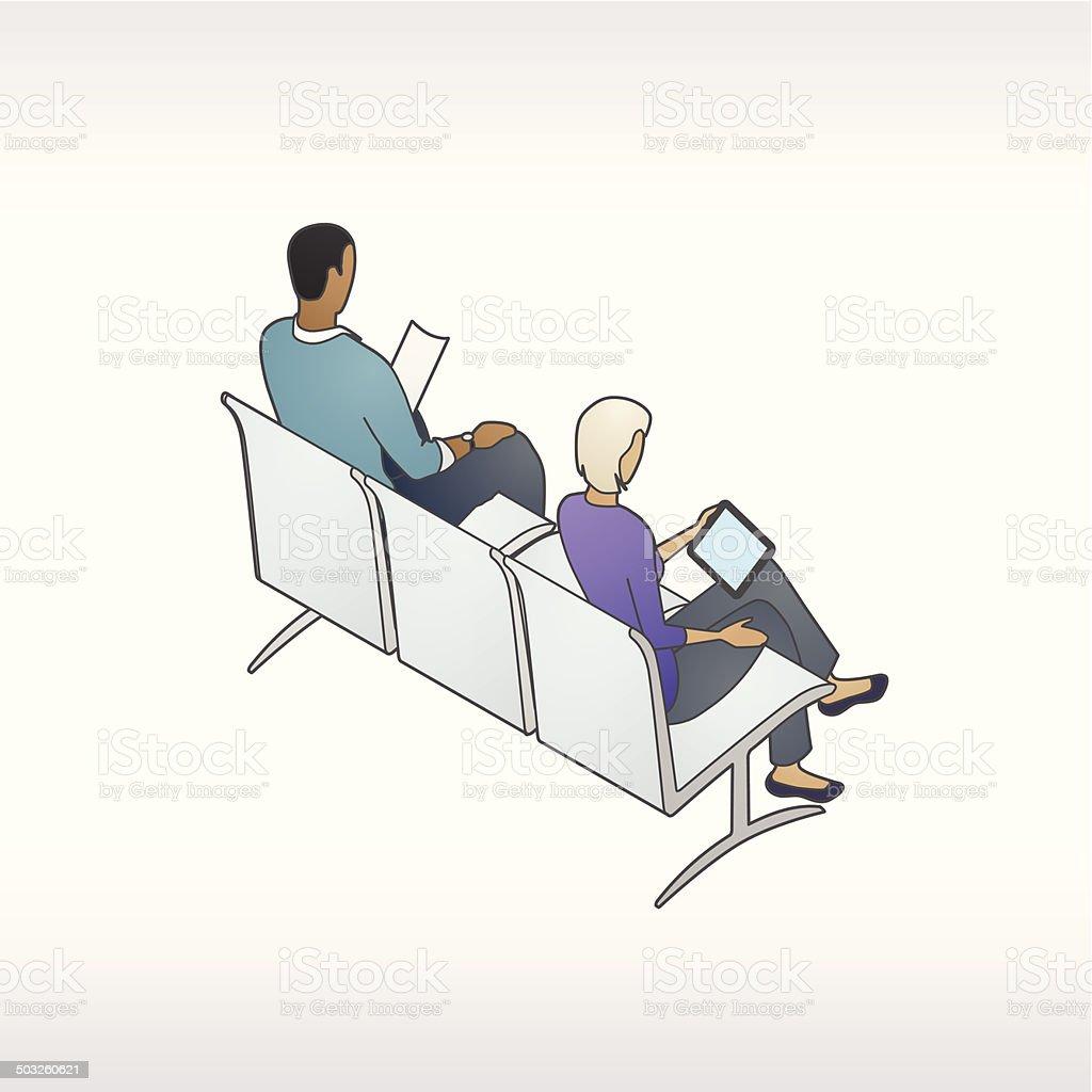 Waiting Room People Illustration vector art illustration