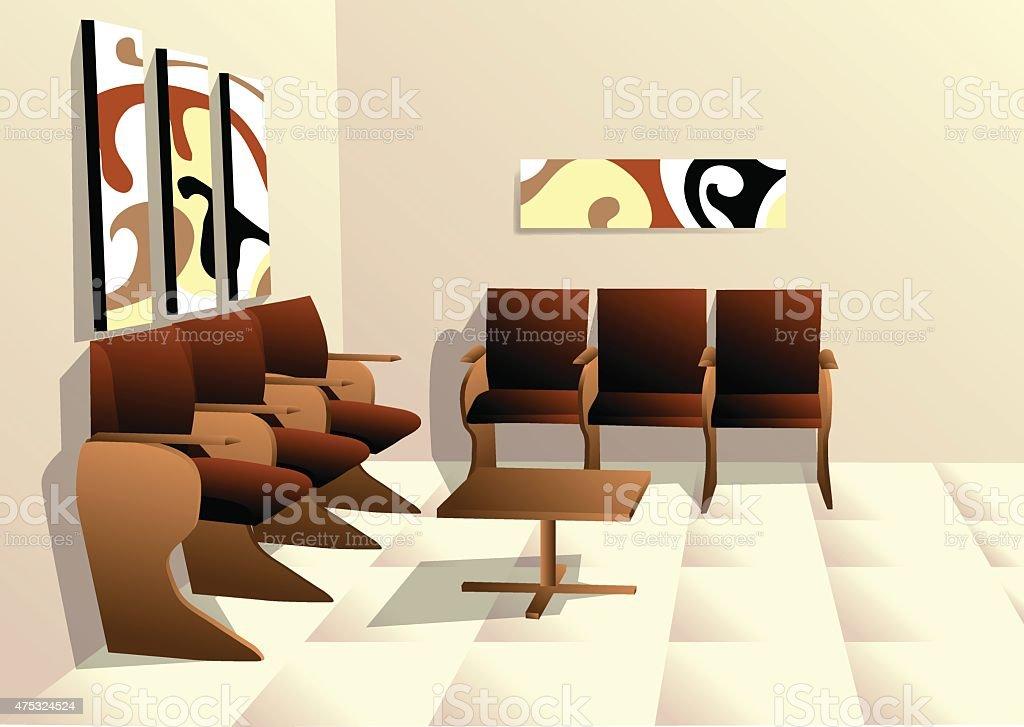 waiting room vector art illustration