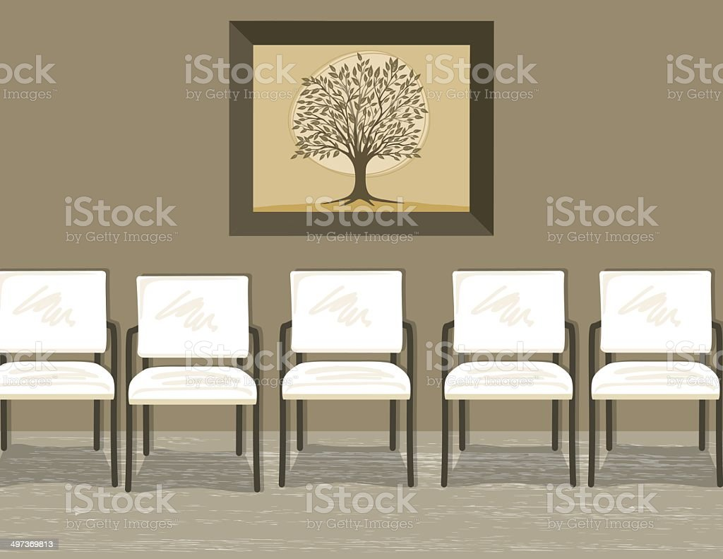 Waiting Room With Chairs and Painting vector art illustration
