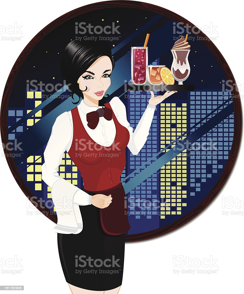 Waitress carrying beverages royalty-free stock vector art