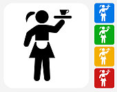 Waitress Icon Flat Graphic Design
