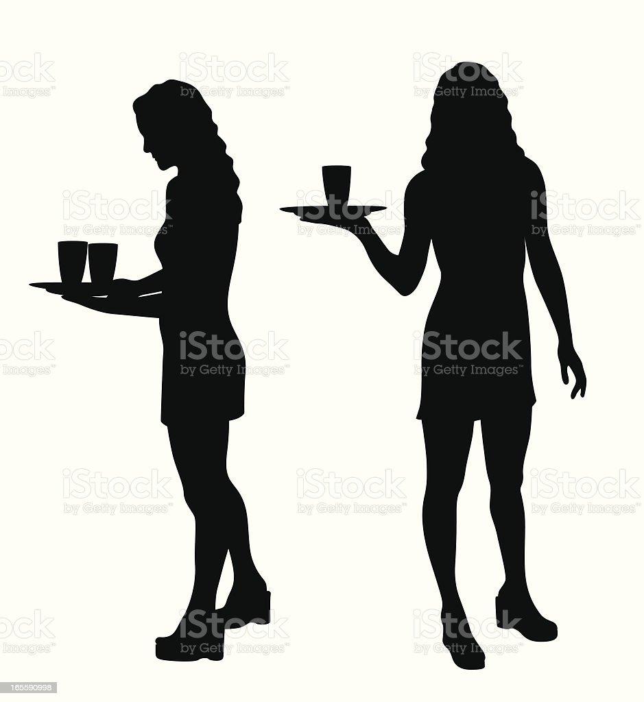 Waitress Vector Silhouette royalty-free stock vector art