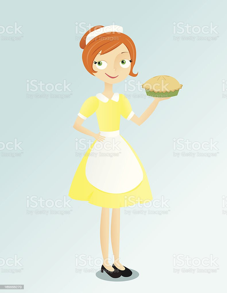 Waitress with Pie vector art illustration