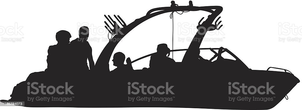 Wake boarding speed boat with people on it royalty-free stock vector art