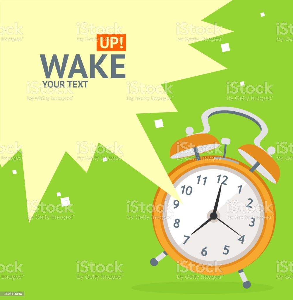 Wake Up Clock Concept Card. Vector vector art illustration