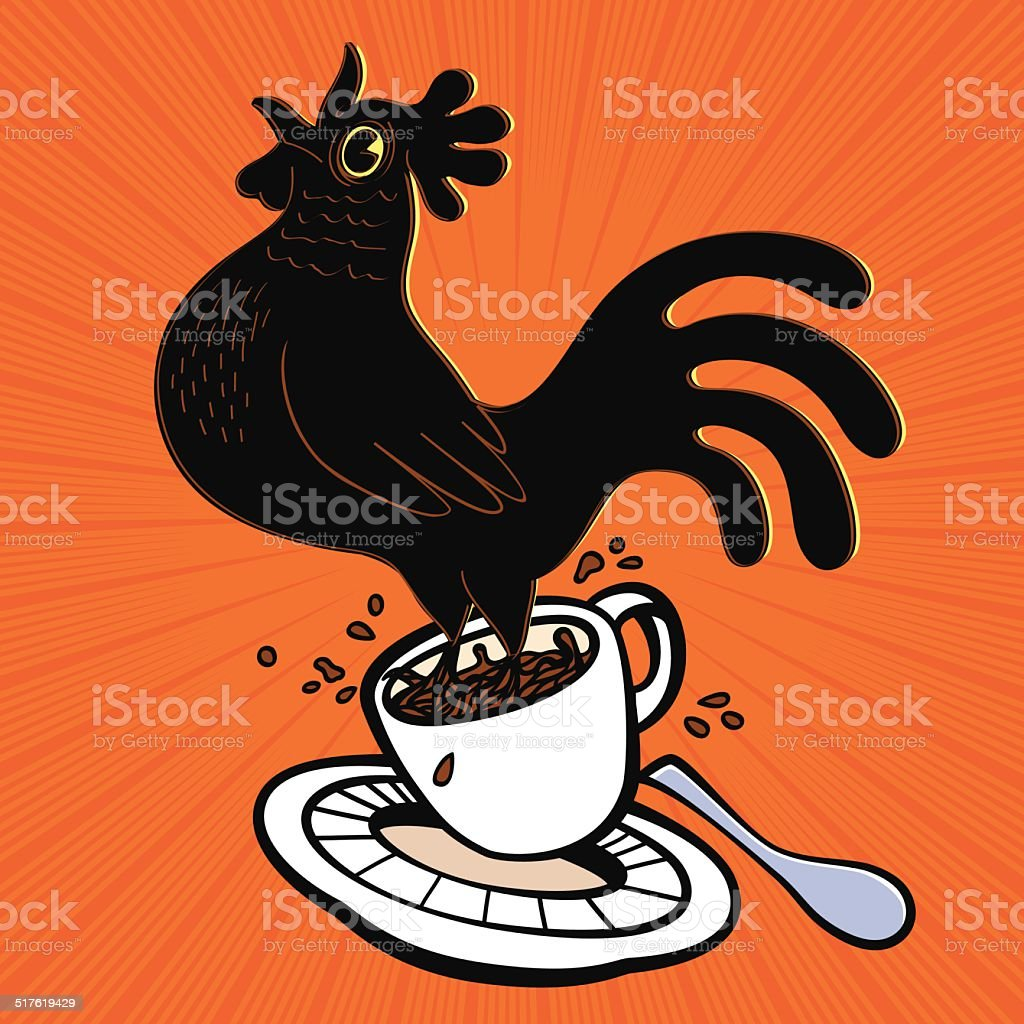 Wake up! coffee cup with springing cartoon rooster. Good Morning! vector art illustration