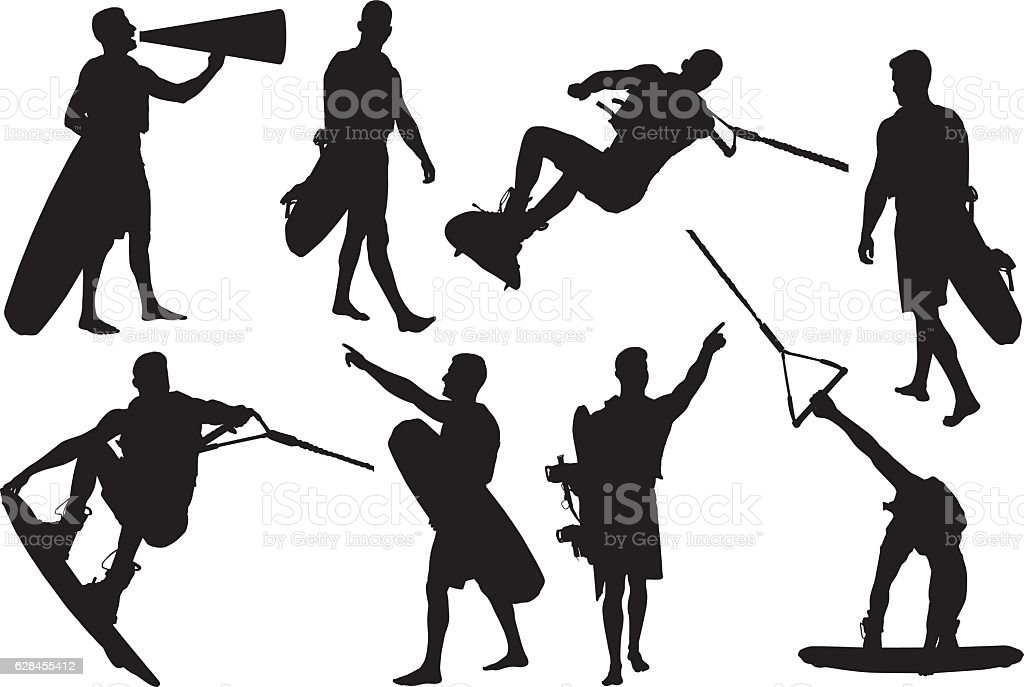 Wakeboarder in various actions vector art illustration