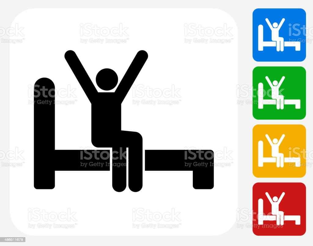 Waking Up Icon Flat Graphic Design vector art illustration