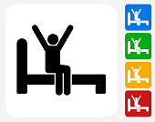 Waking Up Icon Flat Graphic Design