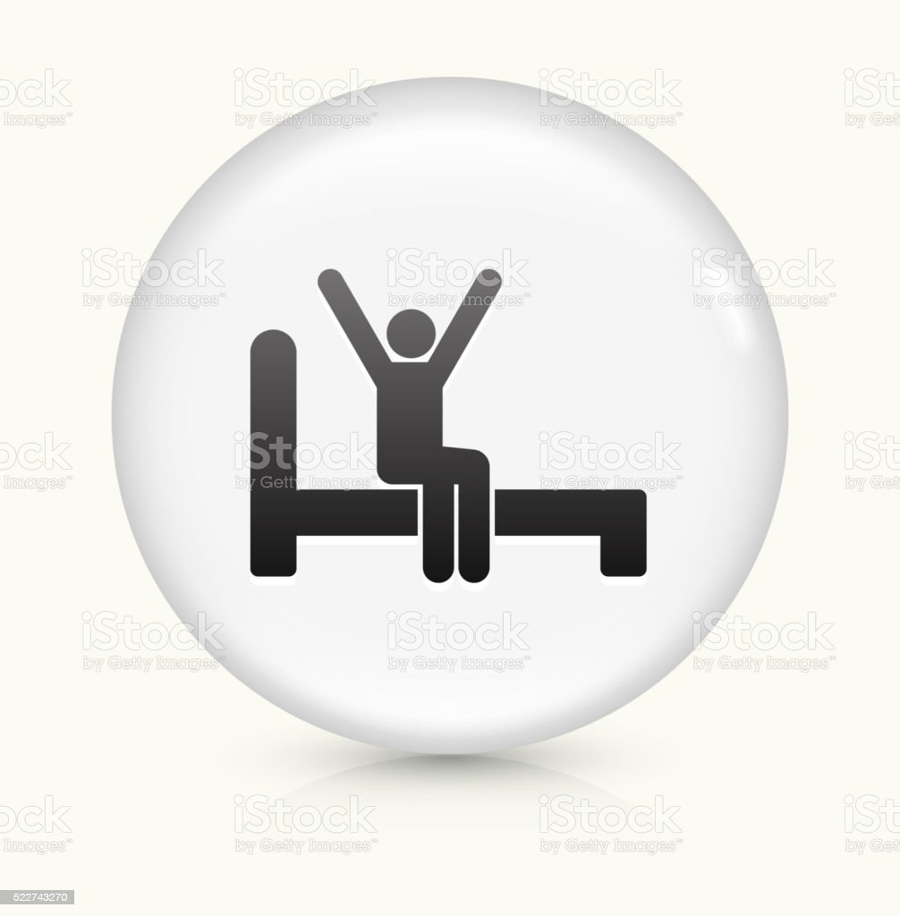 Waking Up icon on white round vector button vector art illustration