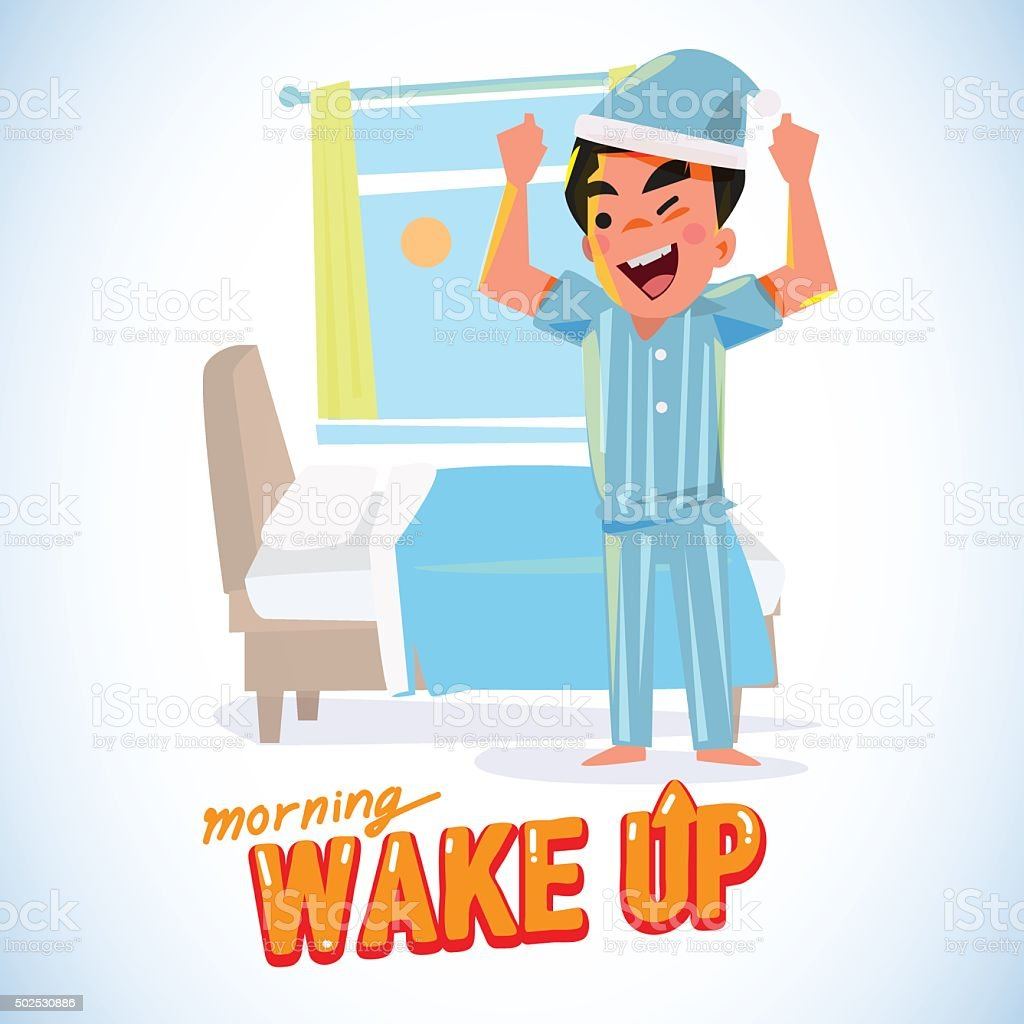 waking up man in the morning in refresh action. character vector art illustration