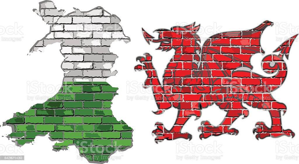 Wales map on a brick wall vector art illustration