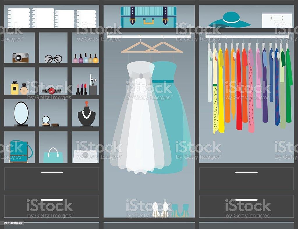 walk in closet10. vector art illustration