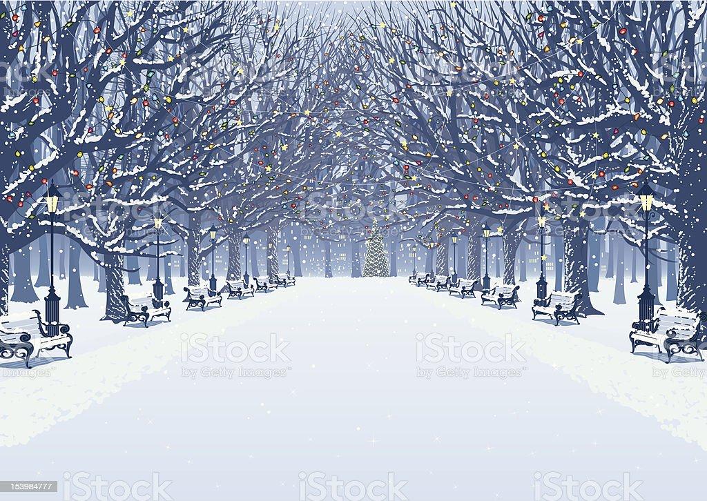 Walk in the winter park vector art illustration