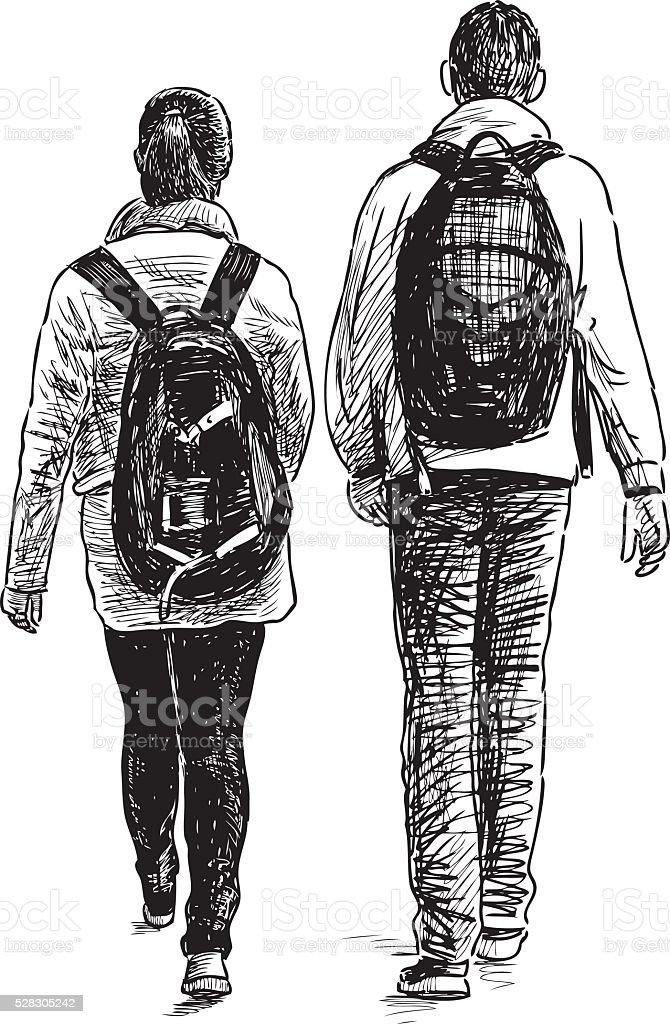walk of the schoolchildren vector art illustration