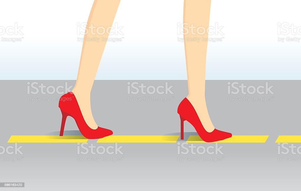 Walk training in high heels shoes follow yellow line. vector art illustration
