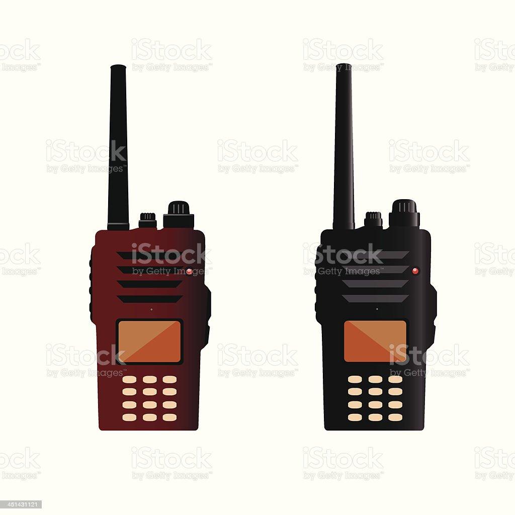 Walkie talkie and police radio vector art illustration
